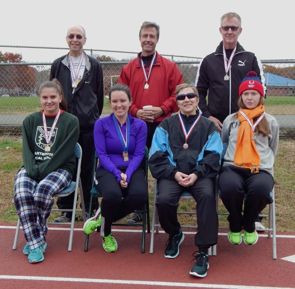 USATF-CT 10000m medalists: (Front) Val Vaitones, Lauren Gemske, Ginger Armstrong Palmer, Lucy Vayo (Back) Charlie Mansbach, Ed O'Rourke, Bill Vayo