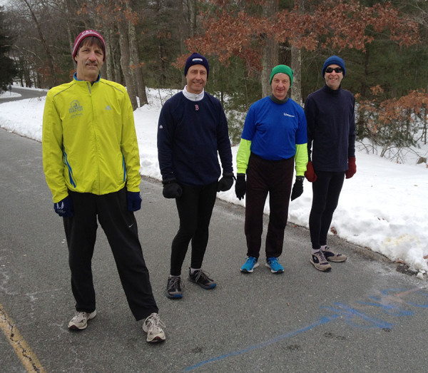 Start of 2016 Kathy & Ken Hayden 3.8 Mile Racewalk: Steve, Ed, Rich, and Charlie.