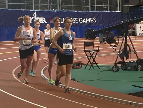 2016 Millrose Games Women's 1 Mile Race Walk--Maegan Allen in 4th place with 1200m to go. Photo courtesy Metropolis-Brookline TC