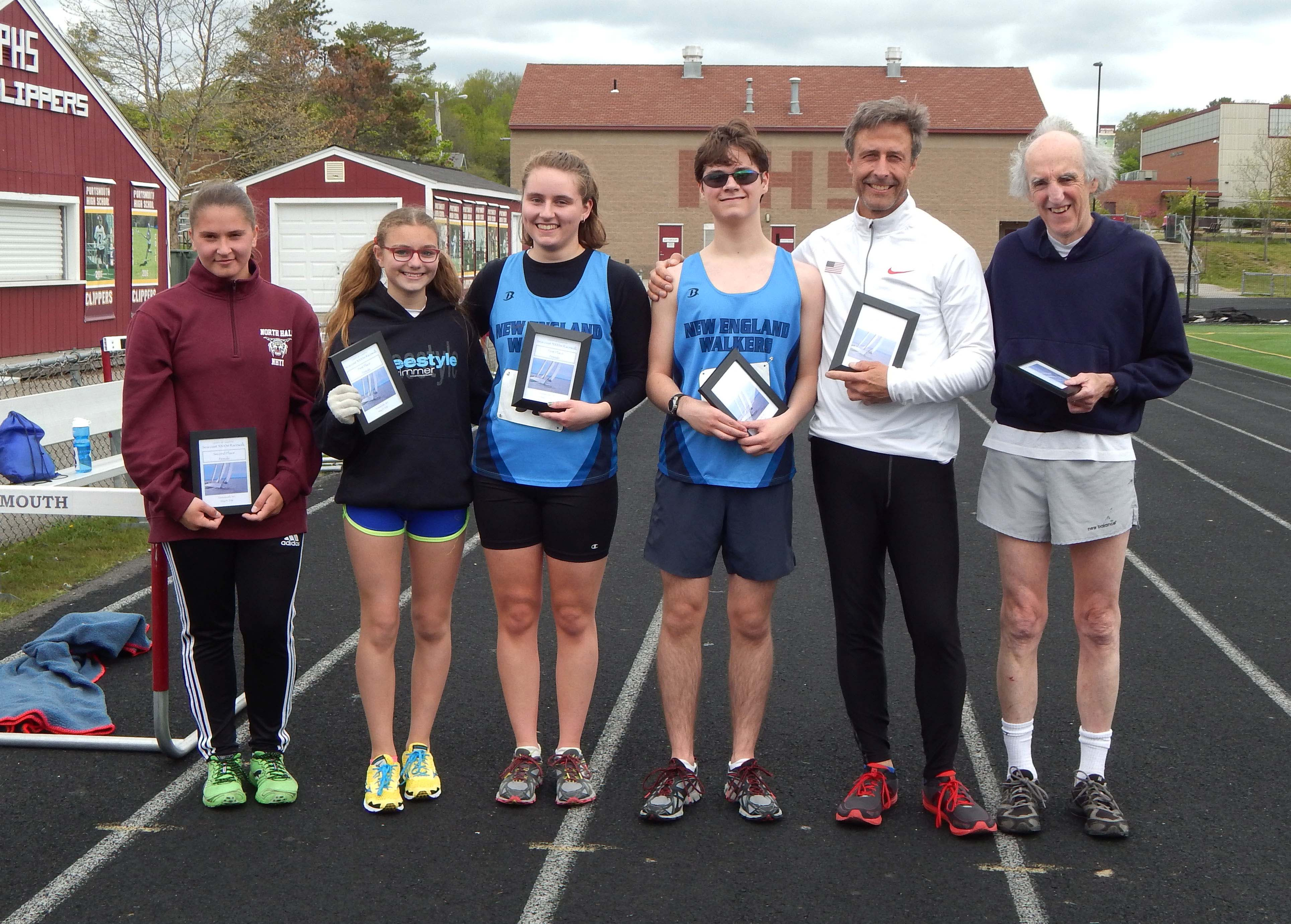 Award winners of the 2016 Seacoast Racewalk: Val Vaitones, Isabelle Trefts, Maegan Allen, Nolan Allen, Ed O'Rourke, and Bob Keating.